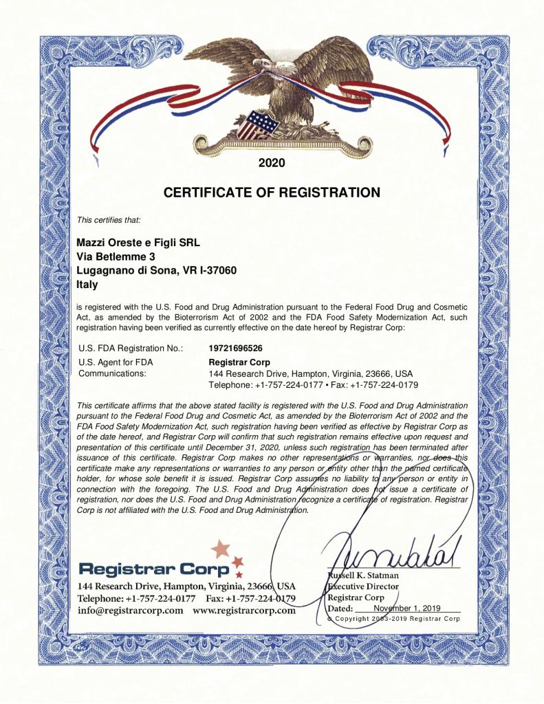 Certificato FDA Pastificio Mazzi