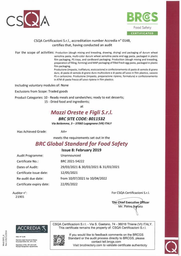 Certificato BRC Pastificio Mazzi