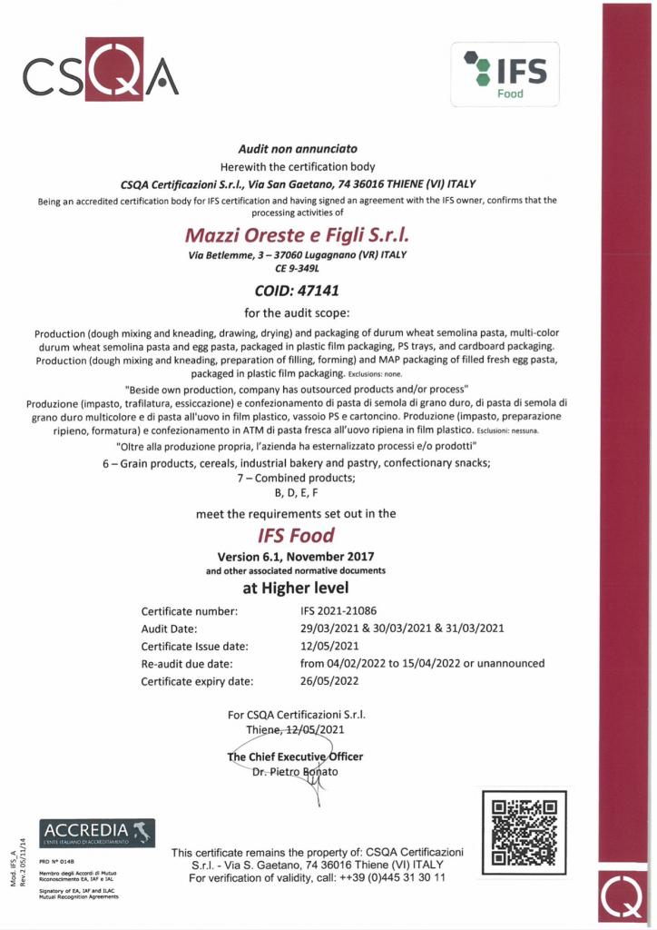 Certificato IFS Pastificio Mazzi